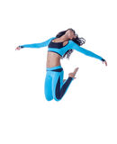 Image of sporty young brunette posing in jump Royalty Free Stock Photography