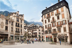 Image of square in city Chamonix. Stock Photography