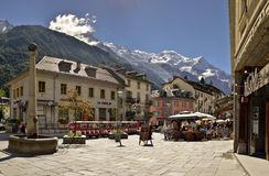 Image of square in city Chamonix. Royalty Free Stock Image