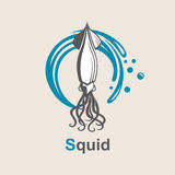 Image of squid. And sea waves royalty free illustration