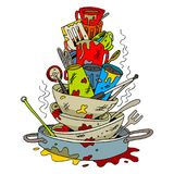 Stack of Dirty Dishes Cartoon. An image of a Stack of Dirty Dishes isolated on white Stock Image