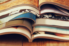 Image stack of printed magazines Royalty Free Stock Photos