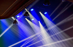 Image of stage lighting effects. Stage lights on a console, smoke, image of stage lighting effects royalty free stock image