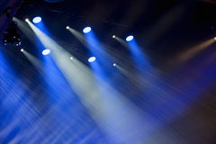 Image of stage lighting effects. Stage lights on a console, smoke, image of stage lighting effects royalty free stock photo