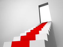 Image of stair with carpet runner to ope Stock Image