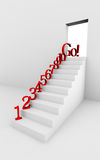 Image of stair with red numbers Stock Photo