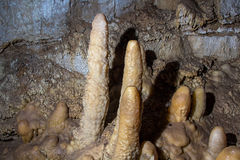 Image of stalagmites in the cave. Artificial lighting Royalty Free Stock Photo