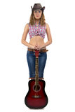 Image of standing cowgirl with the guitar Stock Image
