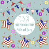 The image star for Independence Day. Image of the  American flag on the star and little flags  and the phrases Independence Day,4th of July on the white Royalty Free Stock Photos
