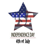 The image star for Independence Day. Image  star of the  American flag and the phrases Independence Day,4th of July on the white background Stock Photo