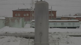 Image of station from moving train stock footage