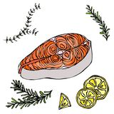 Image of Steak of Red Fish Salmon, Lemon and Herbs for Seafood Menu. Ink Vector Illustration Isolated On a White Stock Images