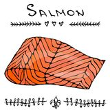Image Steak of Red Fish Salmon for Seafood Menu. Ink Vector Illustration Isolated On a White Background Doodle Cartoon. Steak of Red Fish Salmon for Seafood Menu Stock Photos