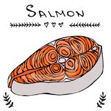 Image Steak of Red Fish Salmon for Seafood Menu. Ink Vector Illustration Isolated On a White Background Doodle Cartoon. Steak of Red Fish Salmon for Seafood Menu Royalty Free Stock Photo