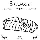 Image Steak of Red Fish Salmon for Seafood Menu. Ink Vector Illustration Isolated On a White Background Doodle Cartoon. Steak of Red Fish Salmon for Seafood Menu Royalty Free Stock Image