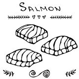 Image Steak of Red Fish Salmon for Seafood Menu. Ink Vector Illustration Isolated On a White Background Doodle Cartoon. Steak of Red Fish Salmon for Seafood Menu Stock Images
