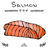 Image Steak of Red Fish Salmon for Seafood Menu. Ink Vector Illustration Isolated On a White Background Doodle Cartoon. Steak of Red Fish Salmon for Seafood Menu Stock Photography