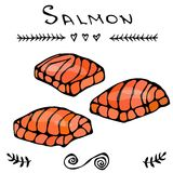 Image Steak of Red Fish Salmon for Seafood Menu. Ink Vector Illustration Isolated On a White Background Doodle Cartoon. Steak of Red Fish Salmon for Seafood Menu Royalty Free Stock Photography