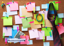 Image of sticky notes on cork bulletin board Stock Images