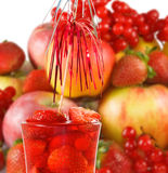 Image of strawberry cocktail and fruit closeup Stock Photography