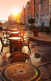 Image of street cafe. Early morning stock images