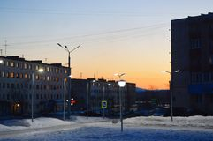 Evening in the city of Kandalaksha.April 2019. Image of the street  in city of Kandalaksha royalty free stock photo