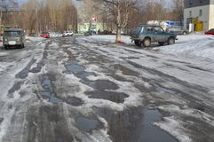 Road in the city of Kandalaksha .April 2019. Image of the street  in city of Kandalaksha stock images