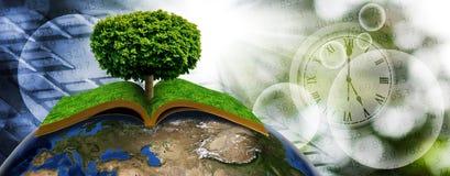 image stylisée de livre et d'arbre sur la fin de planète  illustration stock