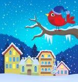 Image stylisée 2 de thème d'oiseau d'hiver illustration libre de droits