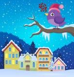 Image stylisée 3 de thème d'oiseau d'hiver illustration libre de droits