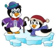 Image stylisée heureuse 1 de sujet de pingouins illustration libre de droits