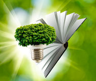 Image of a stylized lamp, tree and  book closeup Stock Images