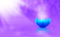 Image of a stylized lotus flower in the water closeup Stock Photo