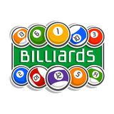 The image on the subject of billiards. The abstract image on the subject of billiards Stock Image