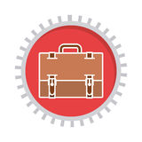 Image with suitcase in toothed circle. Vector illustration Stock Photography