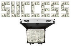Image suitcases of dollars. On a white background Stock Images