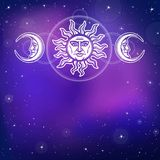 The image of the sun and the moon with human faces. Ancient symbols. Royalty Free Stock Images