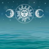 The image of the sun and the moon with human faces. Ancient symbols. Esoteric, mystic, occultism. Background - sea landscape. Vector illustration. Place for Vector Illustration