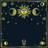 Image of the sun and the moon with human faces. Decorative frame, space symbols. Esoteric, mysticism, occultism. Gold imitation. Vector illustration. The place Royalty Free Stock Photography