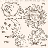 Image of the sun, moon, wind and clouds. Stock Images