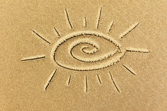 Image of the sun on the sand Royalty Free Stock Photo