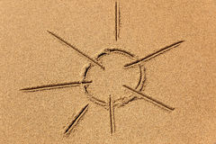 Image of the sun on the sand Stock Photography