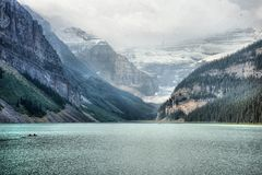 Sunrise at Lake Louise stock photography