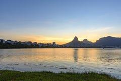 Image of the sunset at Lagoa Rodrigo de Freitas Royalty Free Stock Photography