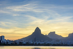 Image of the sunset at Lagoa Rodrigo de Freitas Stock Photos