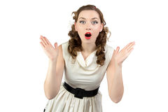 Image of surprised woman with open mouth Stock Photo