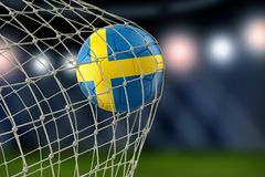 Swedish soccerball in net. Image of Swedish soccerball in net Royalty Free Stock Photography