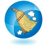 Sweeping Whisk Broom Round Blue Button Icon. An image of a Sweeping Whisk Broom Round Blue Button Icon Royalty Free Illustration
