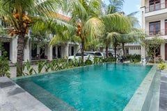 Beautiful swimming pool at cheap hotel stock photo