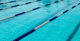 Image of swimming pool. The top view. Swimming pool with empty lanes Stock Photos